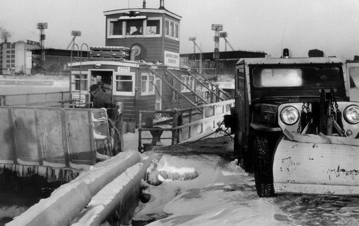 Tug boat at dock in winter
