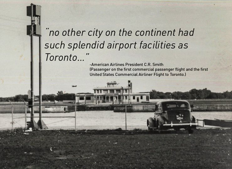 Picture of car in foreground with airport terminal in background. Comment from American airlines President: no other city on the content had such splendid airport facilities as Toronto...