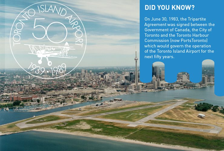 50 year anniversary logo with airport and downtown Toronto in background