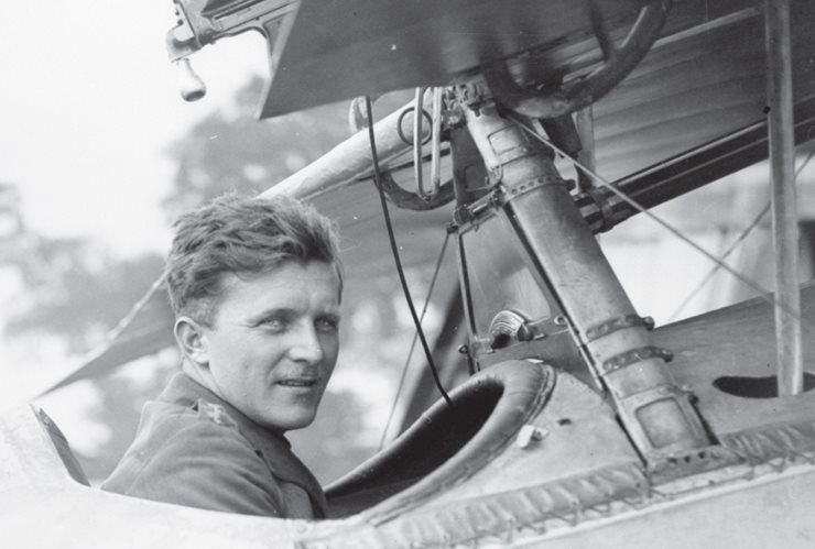 Billy Bishop in a plane cockpit, closeup