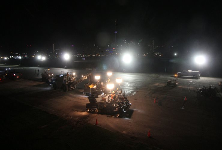 Construction work at night