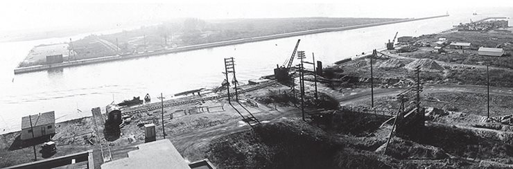 aerial view of tunnel construction site