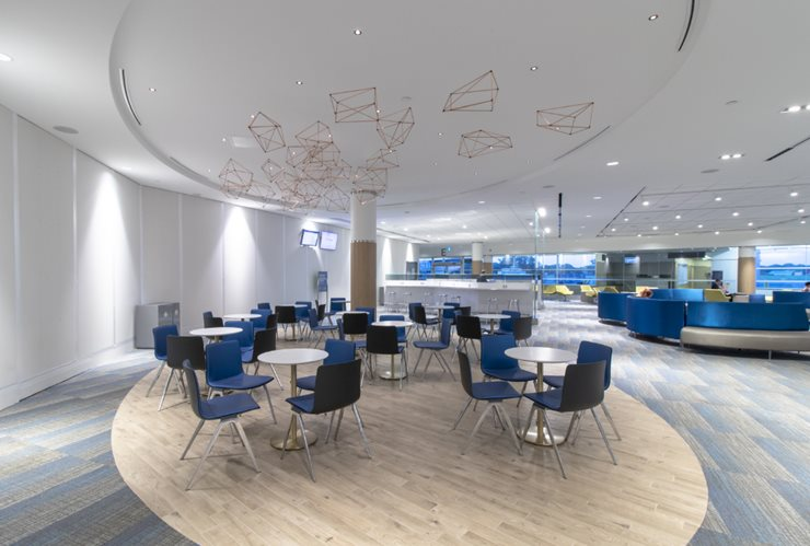 Modern airport lounge area