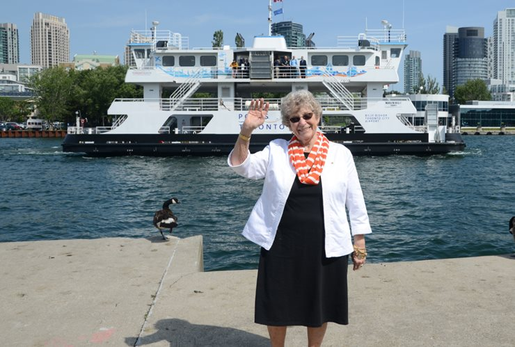 Marilyn Bell infront of the new ferry in the channel