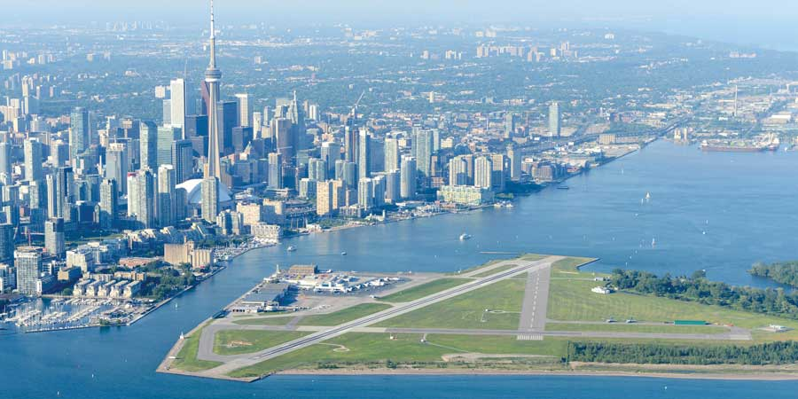 Airport with Toronto skyline in background
